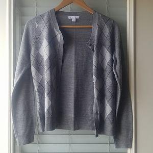 Gray Argyle Cardigan Sweater by New York & Company
